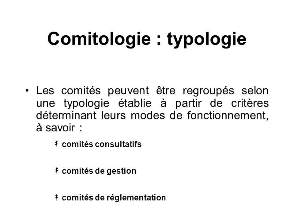Comitologie : typologie