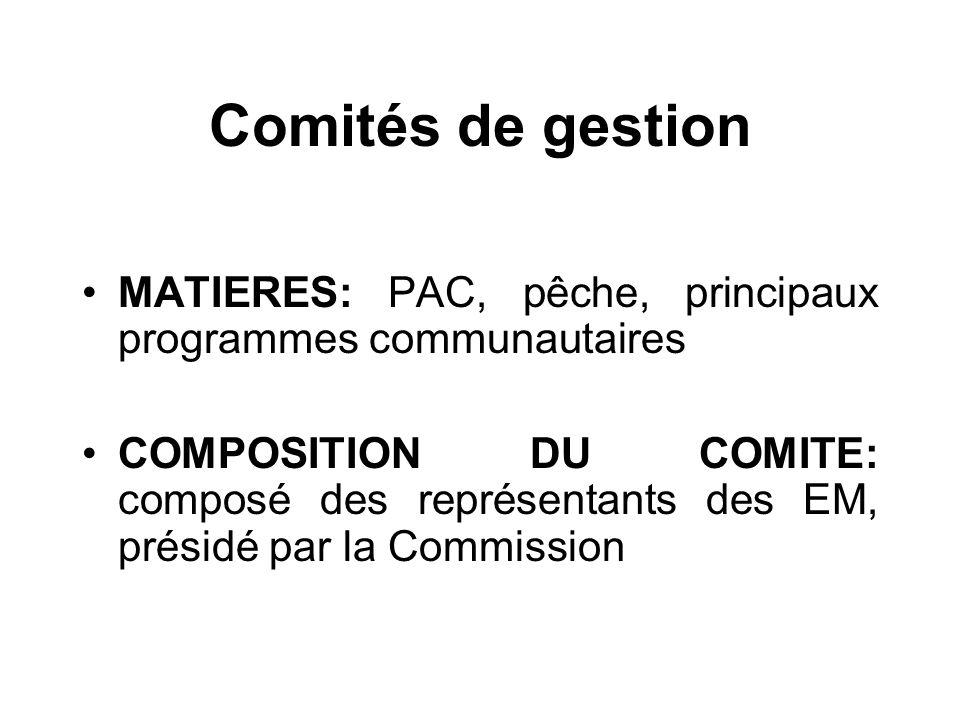 Comités de gestion MATIERES: PAC, pêche, principaux programmes communautaires.