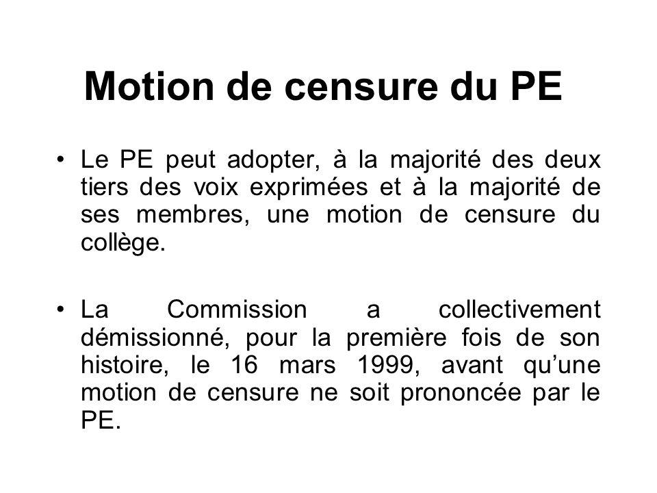 Motion de censure du PE
