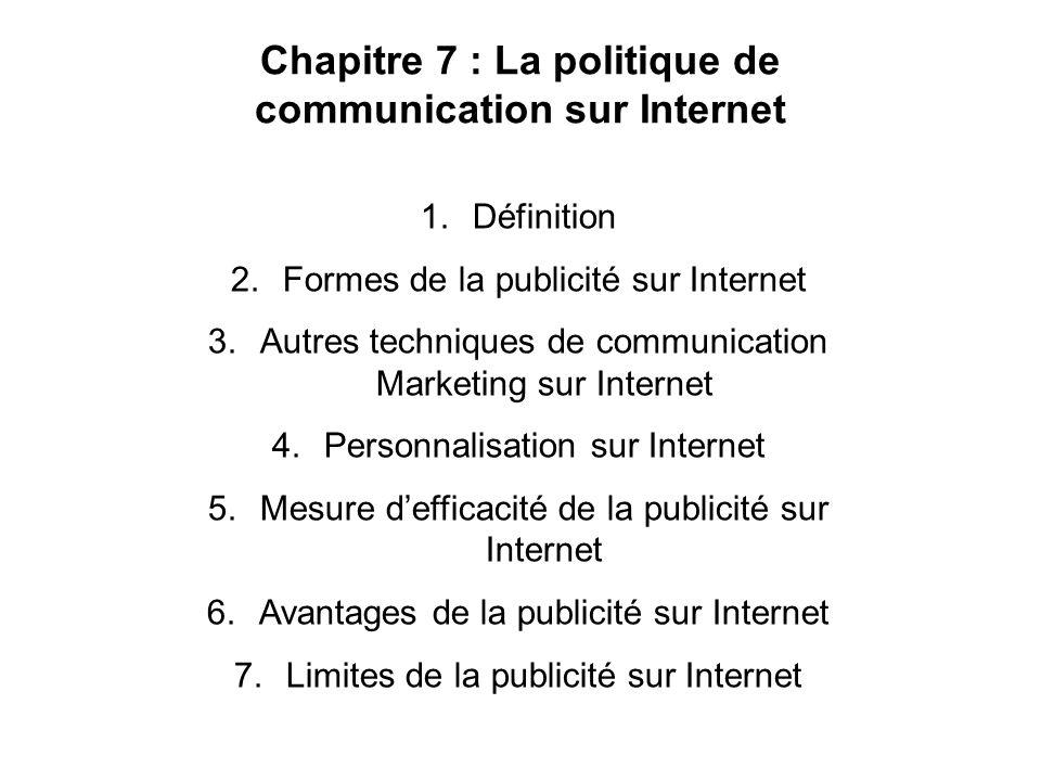 Chapitre 7 : La politique de communication sur Internet