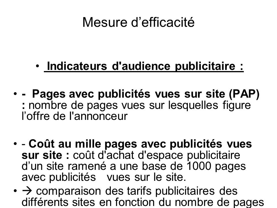 Indicateurs d audience publicitaire :