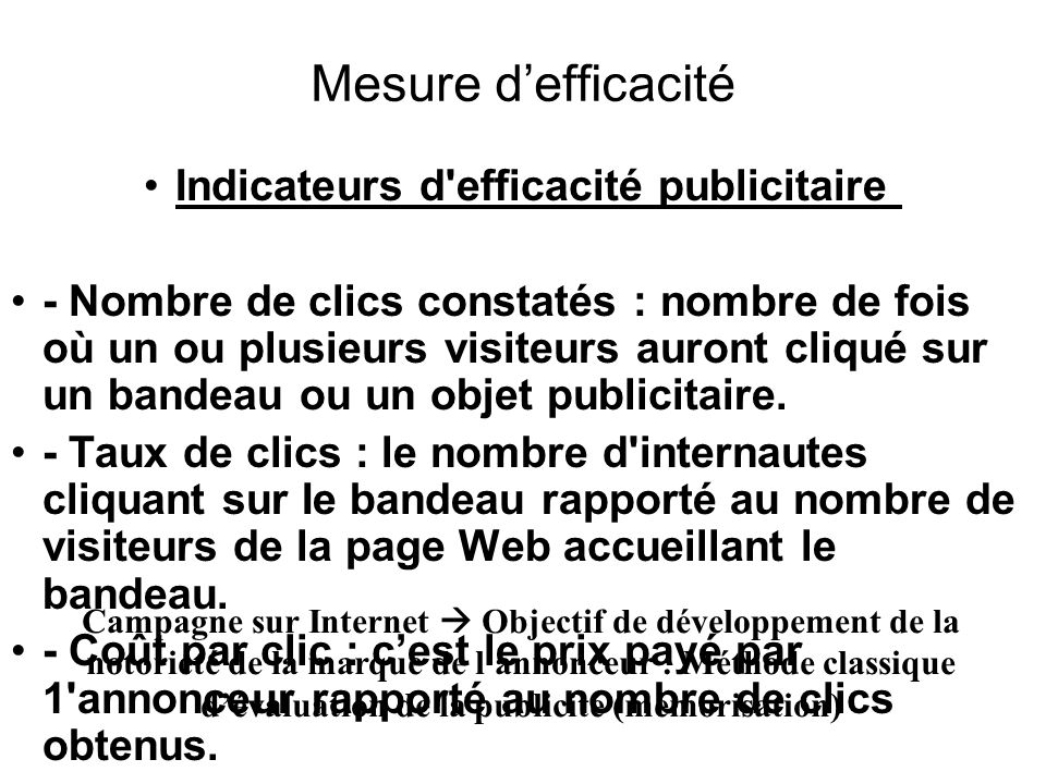 Indicateurs d efficacité publicitaire