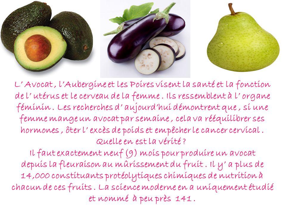L' Avocat , l'Aubergine et les Poires visent la santé et la fonction