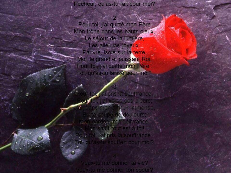 Pour toi, j ai donné ma vie, Pour toi, j ai versé mon sang; Ton âme, à Satan ravie, Échappe à son bras puissant. L amour qui se sacrifie, L as-tu saisi par la foi Pour toi, j ai donné ma vie : Pécheur, qu as-tu fait pour moi 2 Pour toi, j ai quitté mon Père Mon trône dans les hauts cieux, Le séjour de la lumière, Les alléluias joyeux. Pauvre, isolé sur la terre, Moi, le grand et puissant Roi, Pour toi, j ai quitté mon Père : Toi, qu as-tu laissé pour moi 3 Pour toi, j ai pris la souffrance, Pour toi, j ai versé des pleurs; J ai, dans mon amour immense, Bu ta coupe de douleurs; Mon pardon, ma délivrance, Mon salut tout est à toi! Pour toi, j ai pris la souffrance : Toi, qu as-tu souffert pour moi 4 Veux-tu me donner ta vie Veux-tu me donner ton coeur Renoncer à ta folie, Et du mal être vainqueur Ton âme heureuse et bénie Vivra d amour et de foi. Veux-tu me donner ta vie Pécheur, je suis mort pour toi.