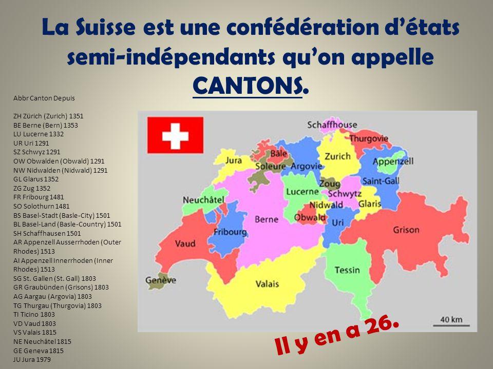 La Suisse est une confédération d'états semi-indépendants qu'on appelle CANTONS.
