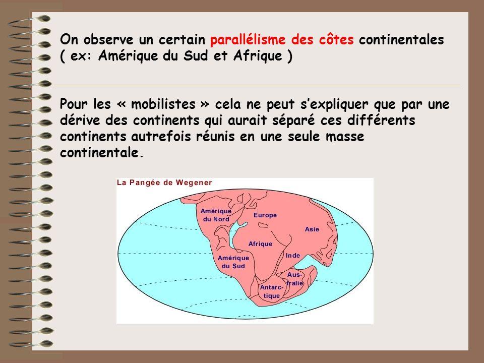 On observe un certain parallélisme des côtes continentales ( ex: Amérique du Sud et Afrique )