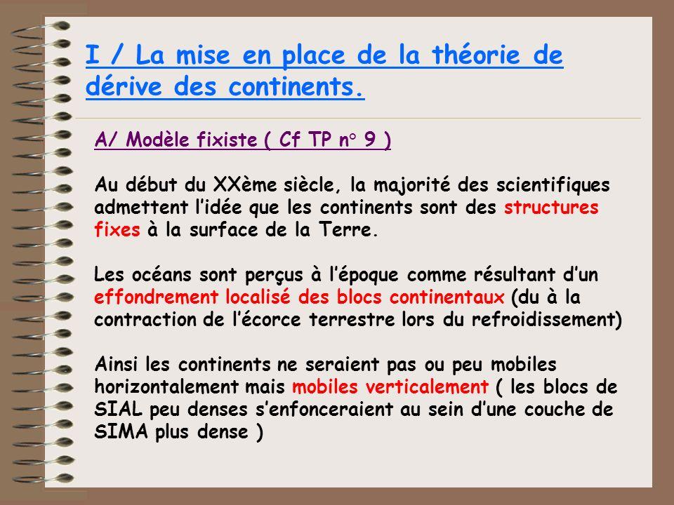 I / La mise en place de la théorie de dérive des continents.