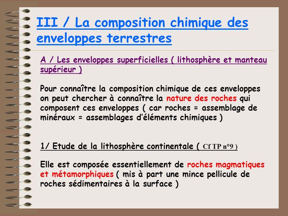 III / La composition chimique des enveloppes terrestres