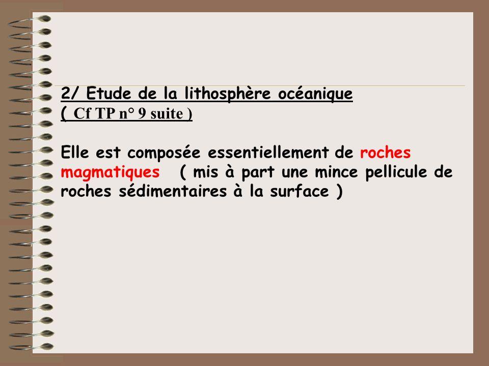 2/ Etude de la lithosphère océanique
