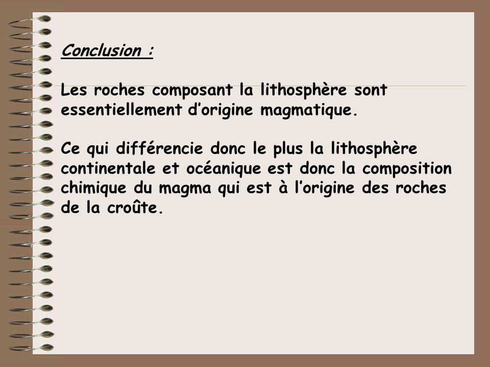 Conclusion :Les roches composant la lithosphère sont essentiellement d'origine magmatique.