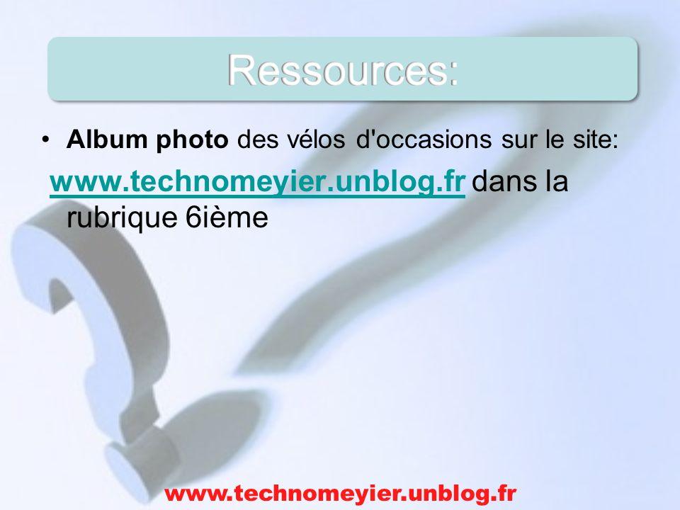 Ressources: www.technomeyier.unblog.fr dans la rubrique 6ième