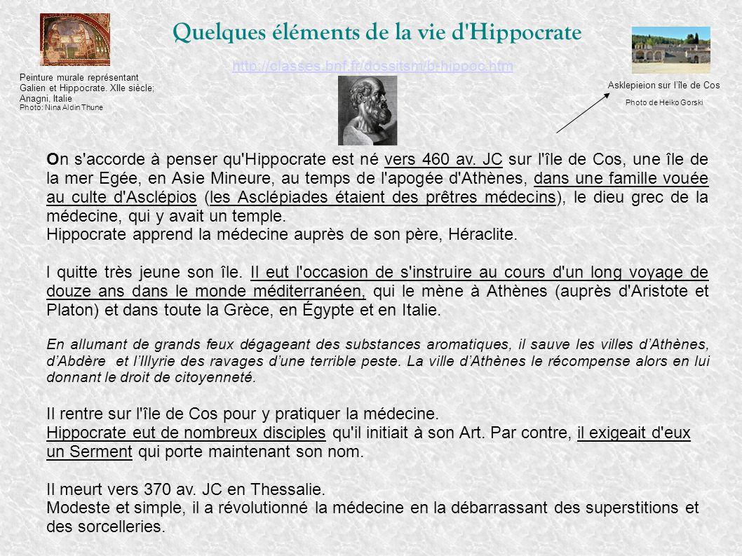 Quelques éléments de la vie d Hippocrate