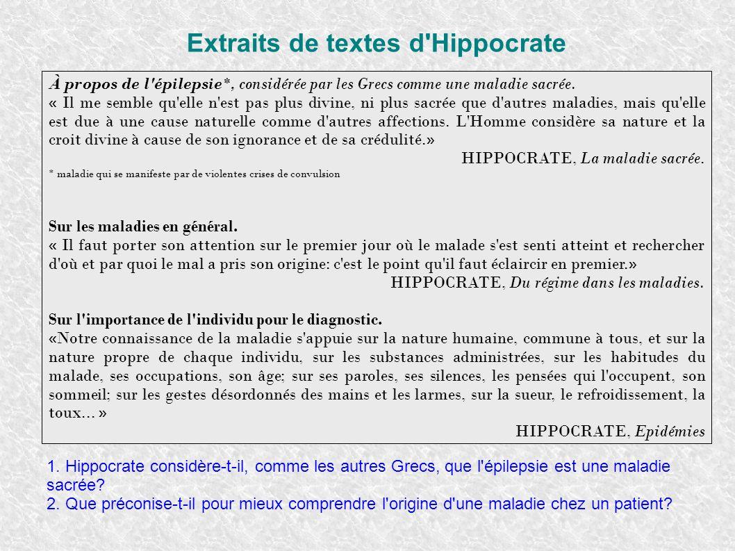 Extraits de textes d Hippocrate