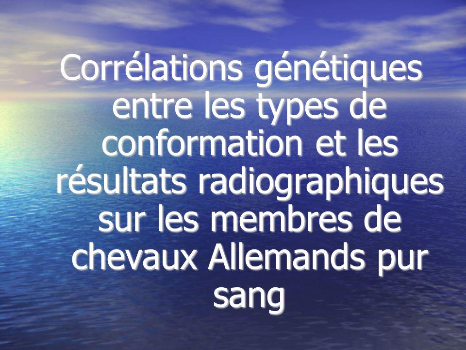 Corrélations génétiques entre les types de conformation et les résultats radiographiques sur les membres de chevaux Allemands pur sang