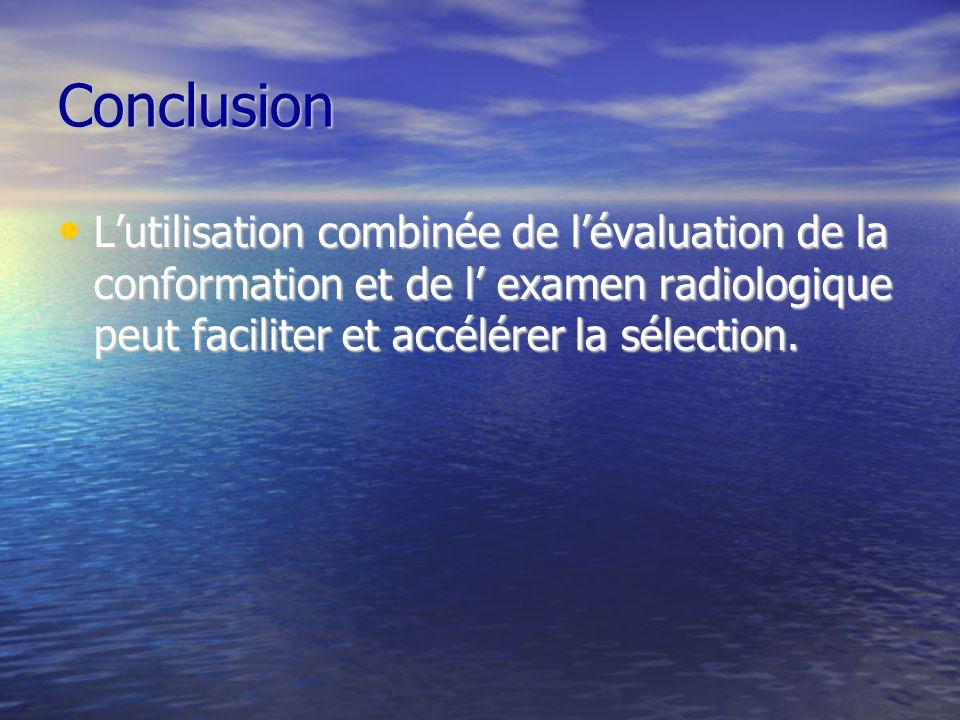 Conclusion L'utilisation combinée de l'évaluation de la conformation et de l' examen radiologique peut faciliter et accélérer la sélection.