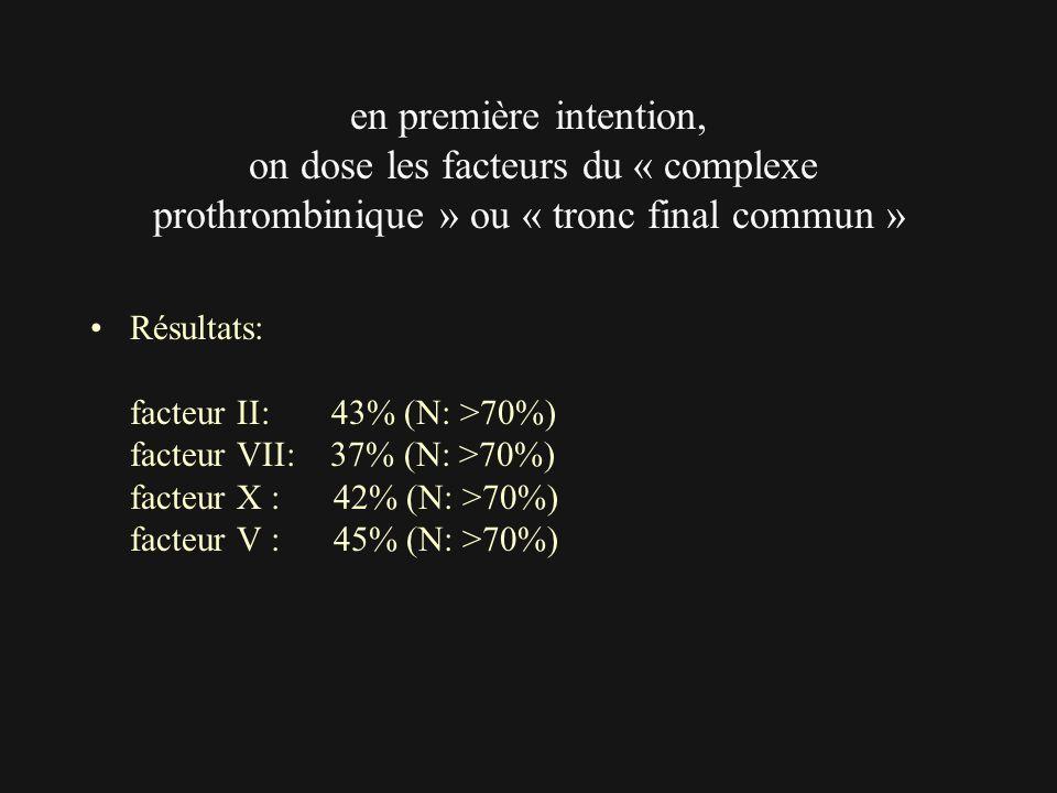 en première intention, on dose les facteurs du « complexe prothrombinique » ou « tronc final commun »