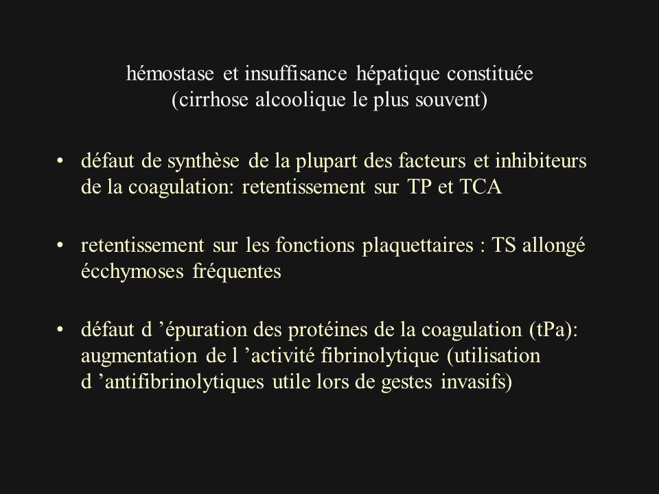 hémostase et insuffisance hépatique constituée (cirrhose alcoolique le plus souvent)