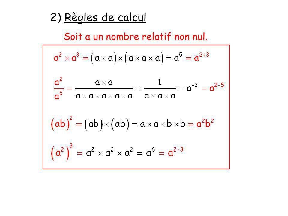 2) Règles de calcul Soit a un nombre relatif non nul.