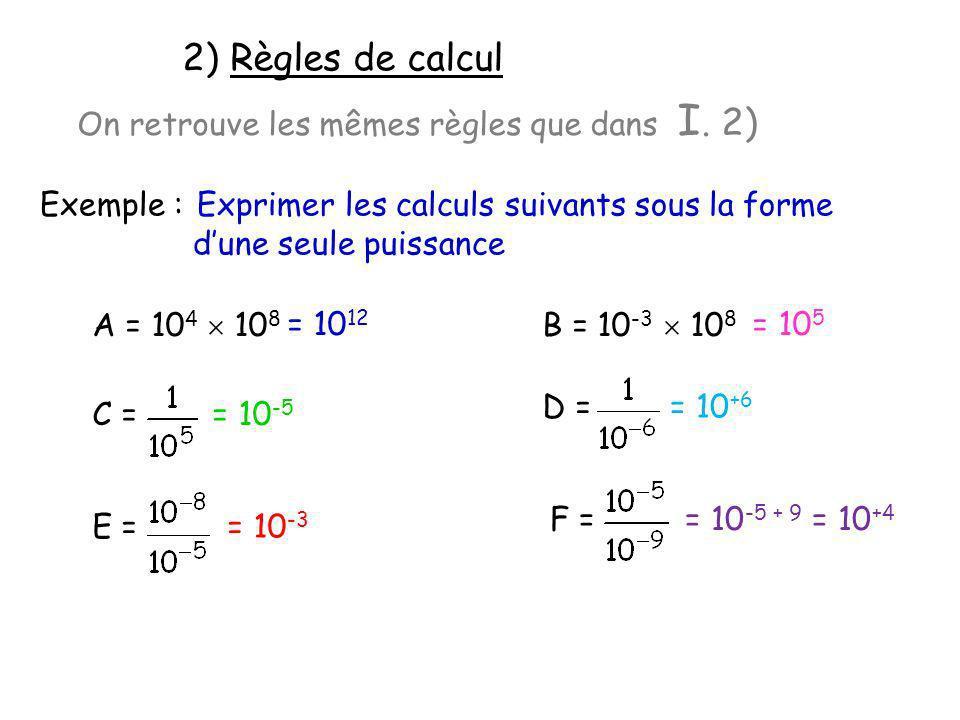2) Règles de calcul On retrouve les mêmes règles que dans I. 2)