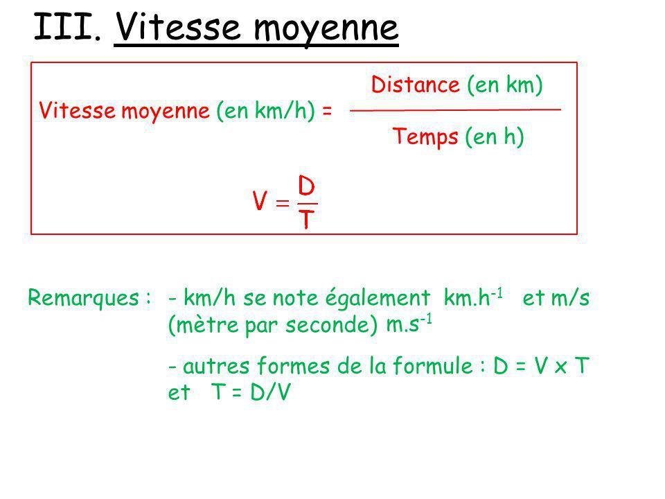 III. Vitesse moyenne Distance (en km) Vitesse moyenne (en km/h) =