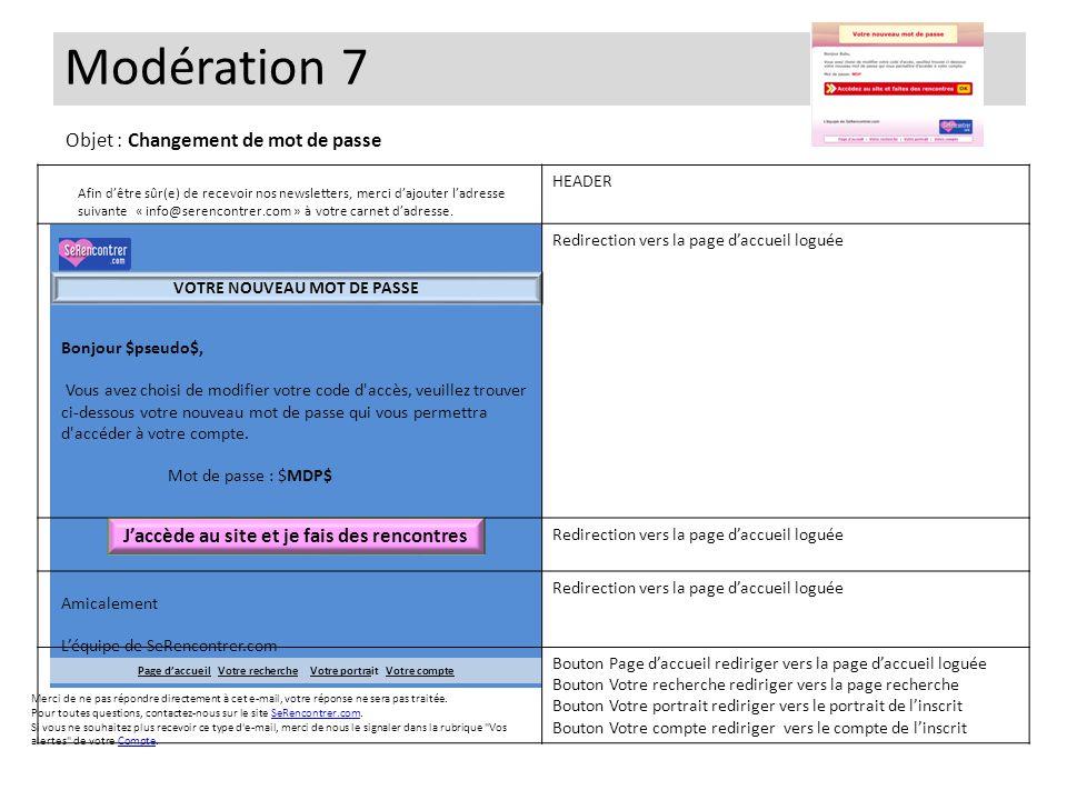 Modération 7 Objet : Changement de mot de passe
