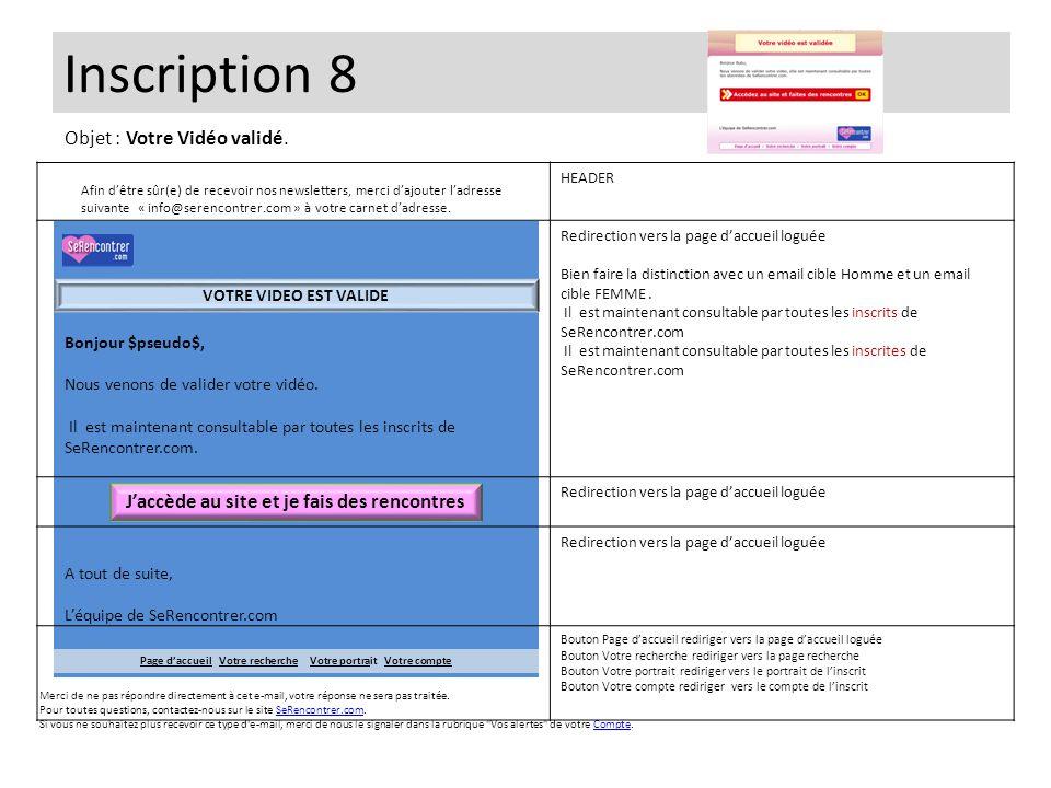 Inscription 8 Objet : Votre Vidéo validé.