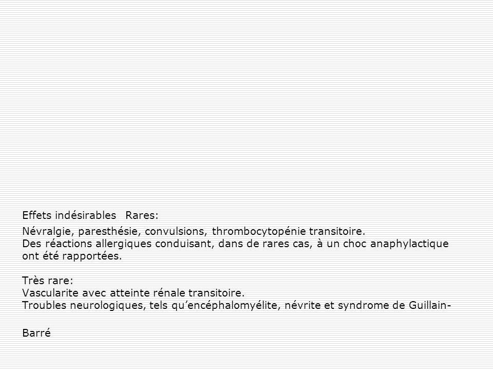 Effets indésirables Rares: Névralgie, paresthésie, convulsions, thrombocytopénie transitoire.