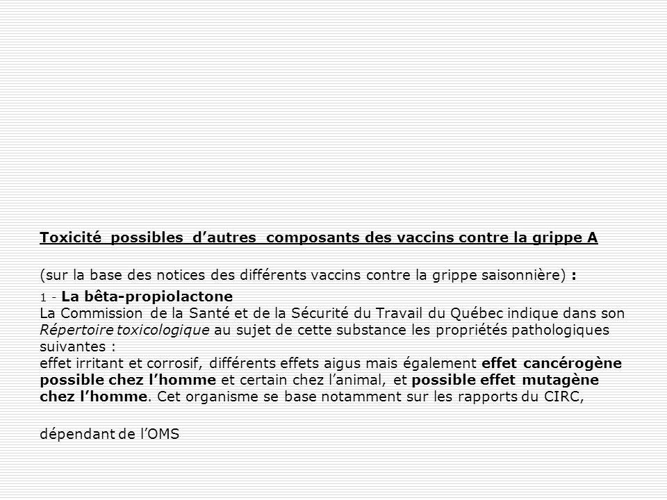 Toxicité possibles d'autres composants des vaccins contre la grippe A (sur la base des notices des différents vaccins contre la grippe saisonnière) : 1 - La bêta-propiolactone La Commission de la Santé et de la Sécurité du Travail du Québec indique dans son Répertoire toxicologique au sujet de cette substance les propriétés pathologiques suivantes : effet irritant et corrosif, différents effets aigus mais également effet cancérogène possible chez l'homme et certain chez l'animal, et possible effet mutagène chez l'homme.