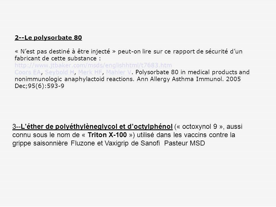 2--Le polysorbate 80 « N'est pas destiné à être injecté » peut-on lire sur ce rapport de sécurité d'un fabricant de cette substance : http://www.jtbaker.com/msds/englishhtml/t7683.htm Coors EA, Seybold H, Merk HF, Mahler V. Polysorbate 80 in medical products and nonimmunologic anaphylactoid reactions. Ann Allergy Asthma Immunol. 2005 Dec;95(6):593-9