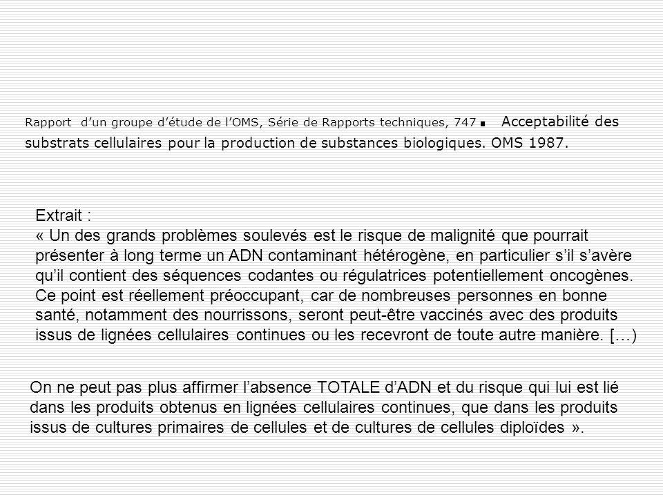 Rapport d'un groupe d'étude de l'OMS, Série de Rapports techniques, 747. Acceptabilité des substrats cellulaires pour la production de substances biologiques. OMS 1987.