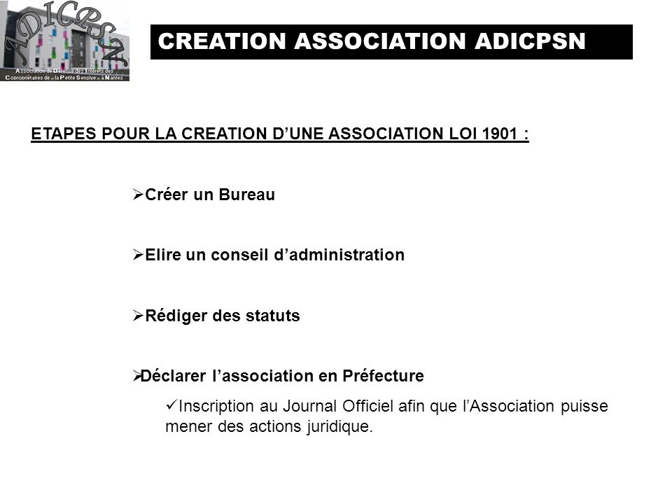 Creation association adicpsn ppt t l charger - Renouvellement d un bureau association loi 1901 ...