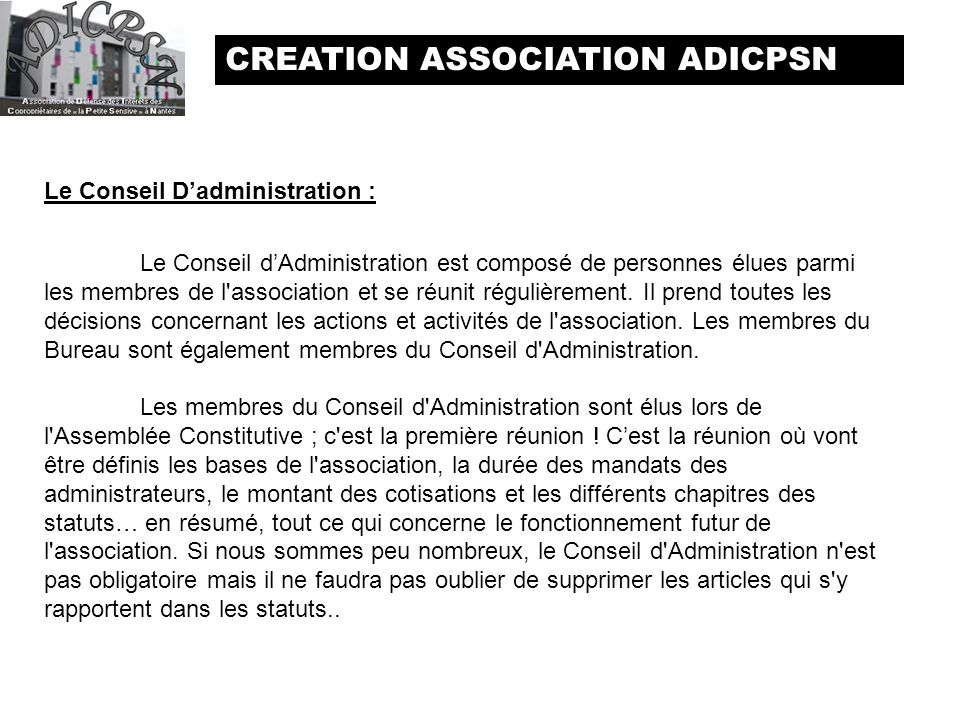 CREATION ASSOCIATION ADICPSN