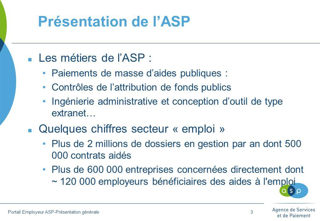 Présentation de l'ASP Les métiers de l'ASP :