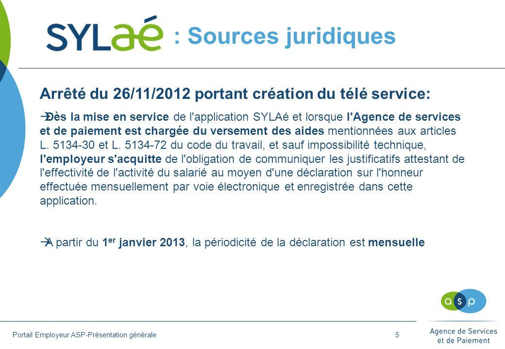 : Sources juridiques Arrêté du 26/11/2012 portant création du télé service: