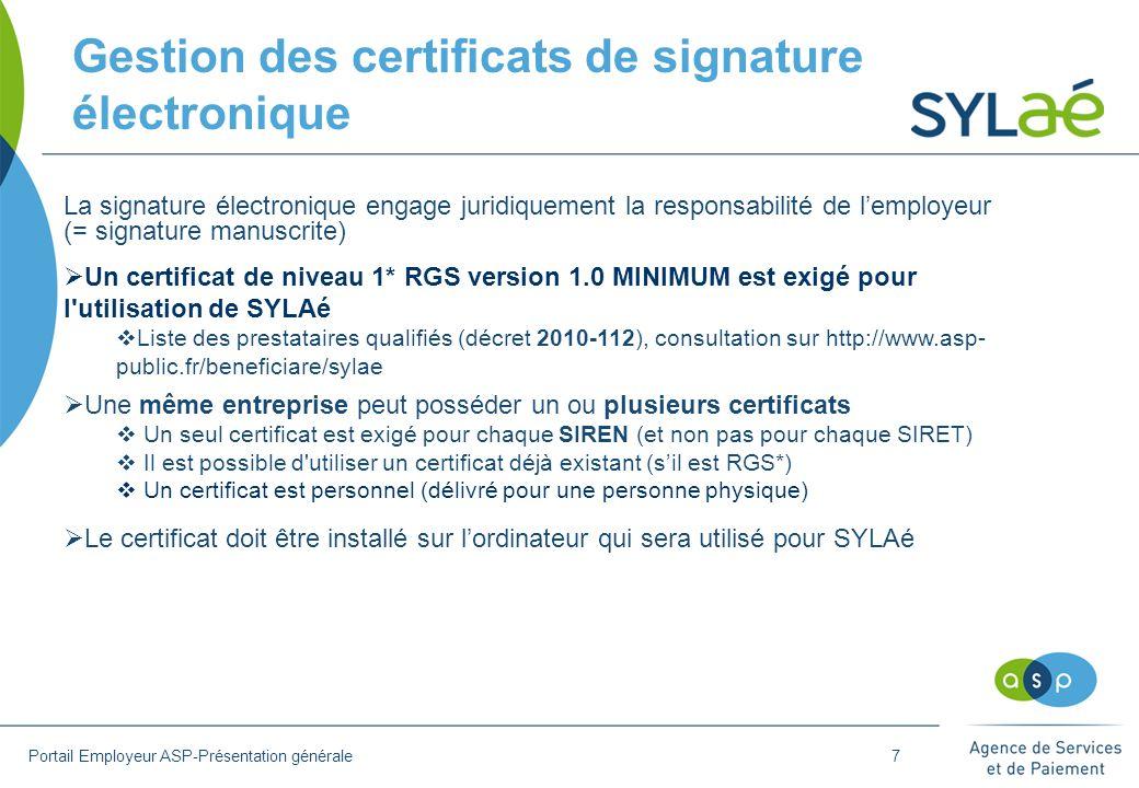 Gestion des certificats de signature électronique