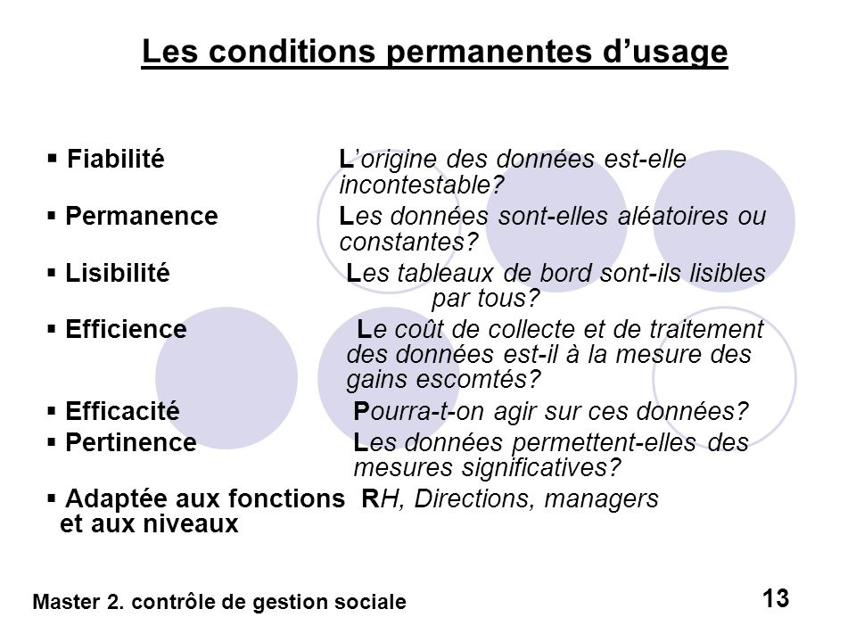 Les conditions permanentes d'usage