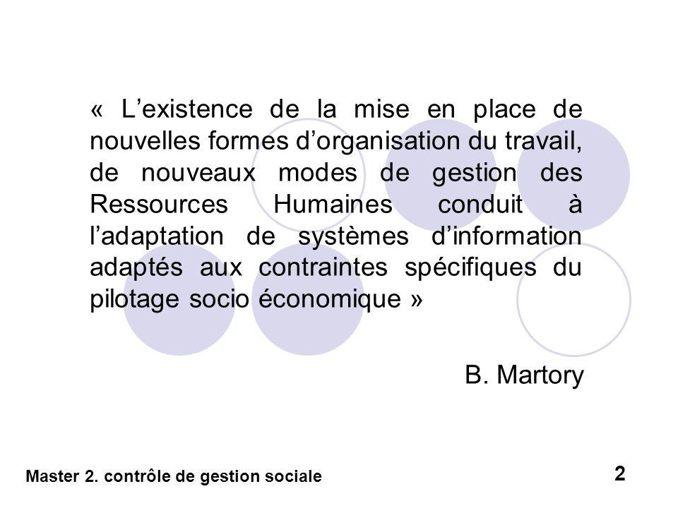 « L'existence de la mise en place de nouvelles formes d'organisation du travail, de nouveaux modes de gestion des Ressources Humaines conduit à l'adaptation de systèmes d'information adaptés aux contraintes spécifiques du pilotage socio économique »