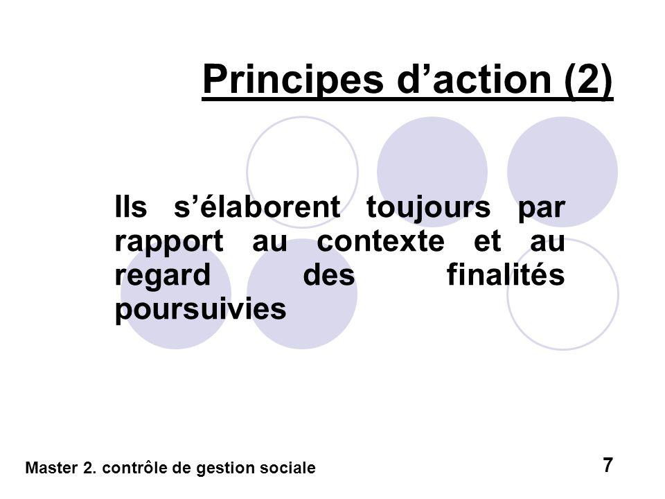 Principes d'action (2) Ils s'élaborent toujours par rapport au contexte et au regard des finalités poursuivies.