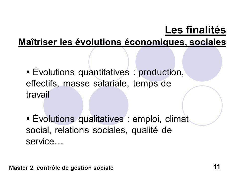 Les finalités Maîtriser les évolutions économiques, sociales