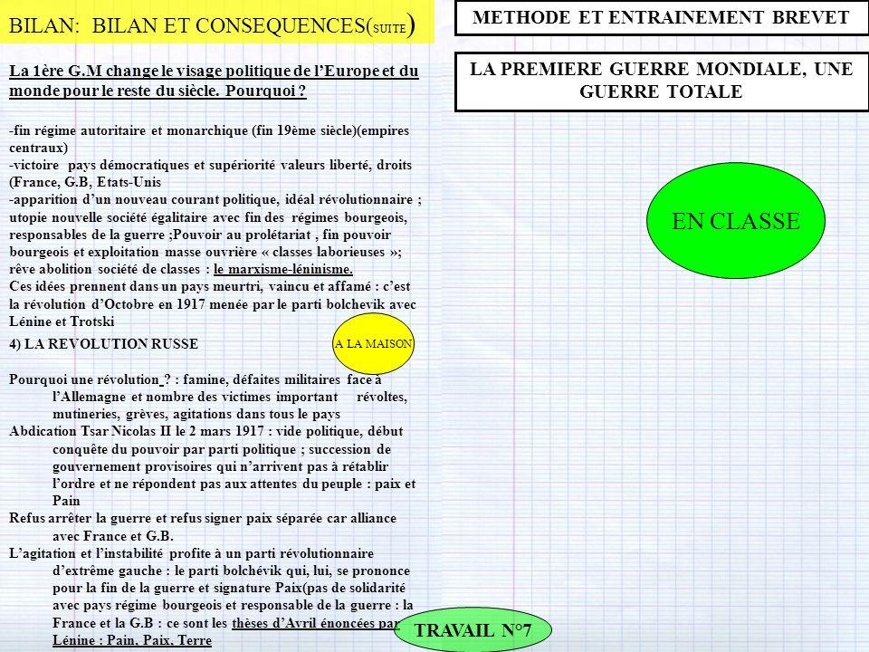 EN CLASSE BILAN: BILAN ET CONSEQUENCES(SUITE)