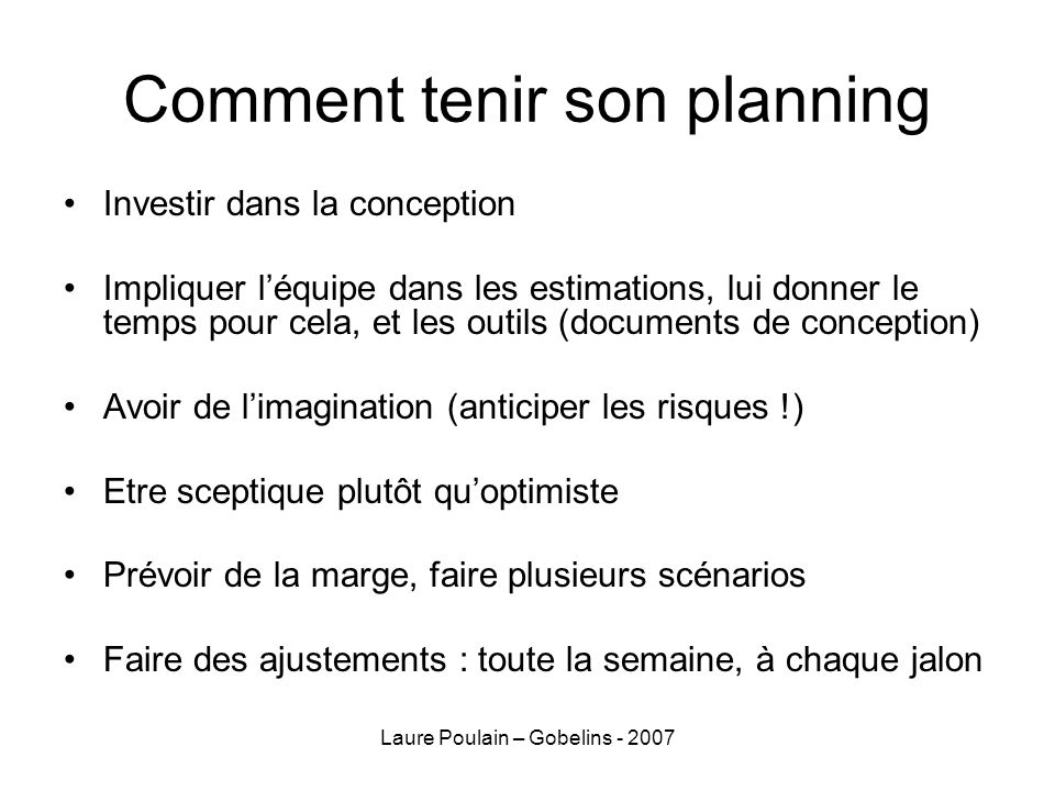 Comment tenir son planning