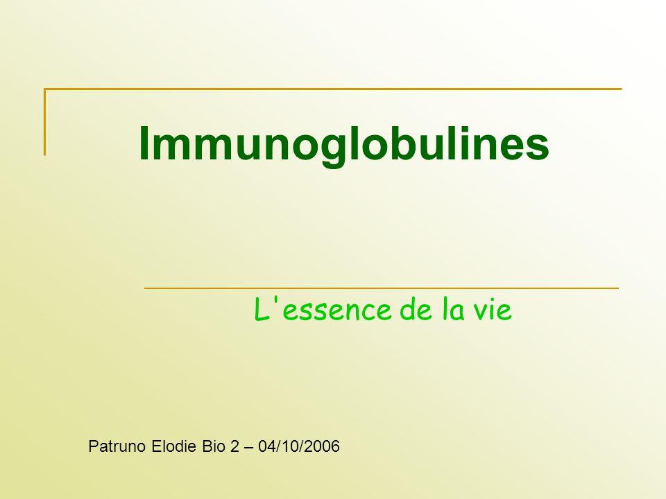 Immunoglobulines L essence de la vie Patruno Elodie Bio 2 – 04/10/2006