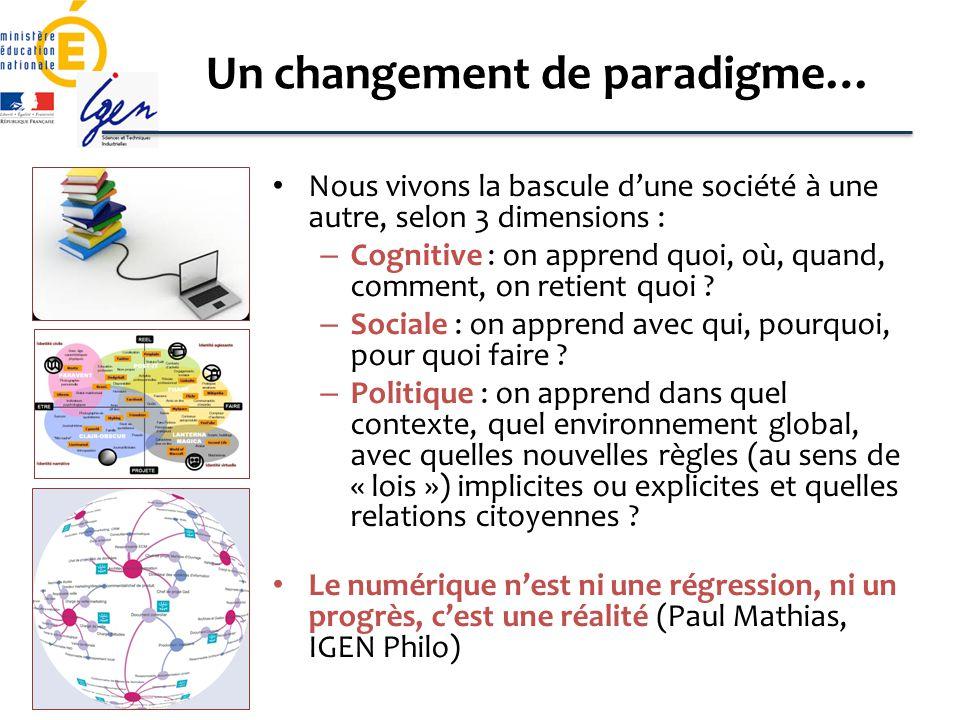 Un changement de paradigme…