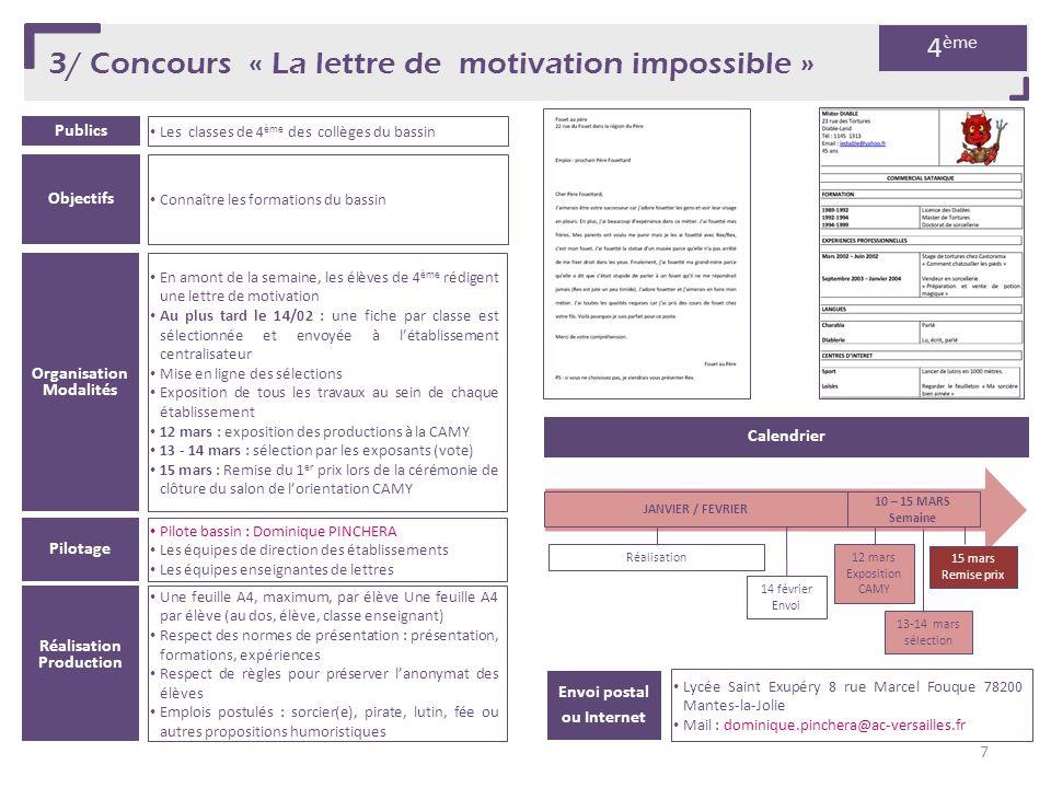 3/ Concours « La lettre de motivation impossible »