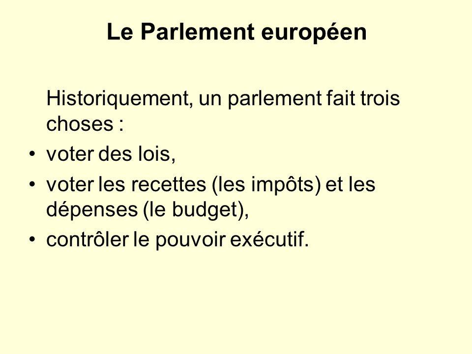 Le Parlement européen Historiquement, un parlement fait trois choses :