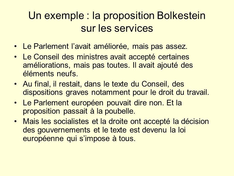 Un exemple : la proposition Bolkestein sur les services