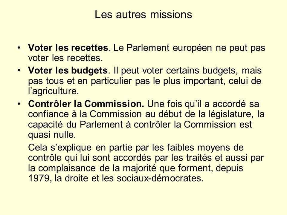 Les autres missions Voter les recettes. Le Parlement européen ne peut pas voter les recettes.