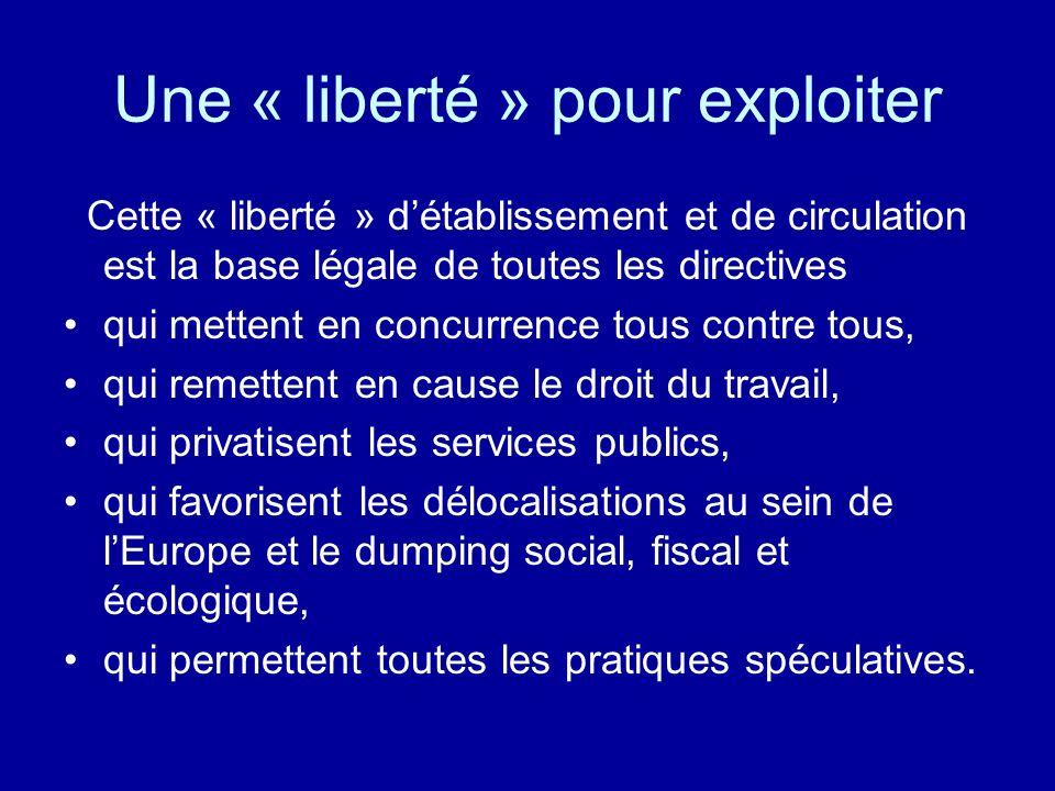 Une « liberté » pour exploiter