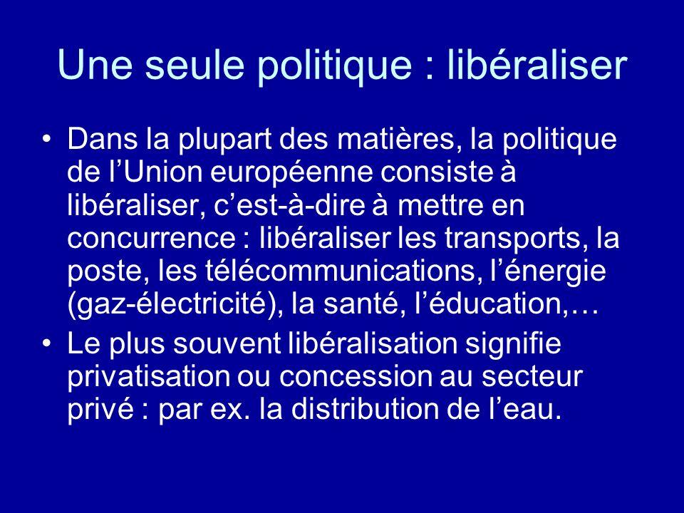 Une seule politique : libéraliser