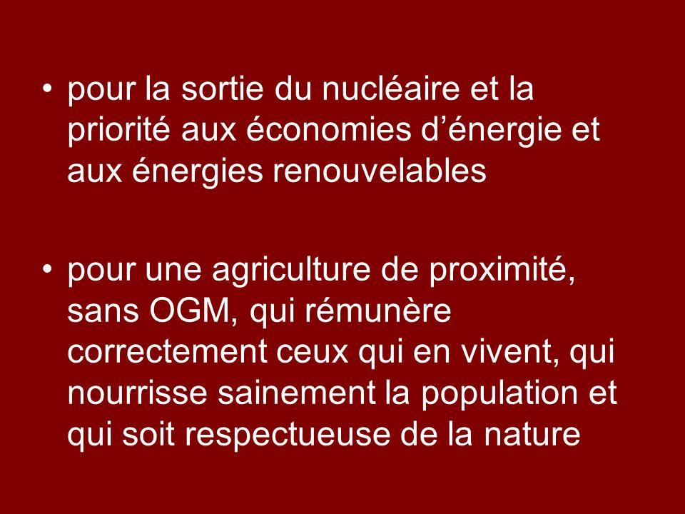 pour la sortie du nucléaire et la priorité aux économies d'énergie et aux énergies renouvelables
